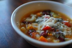 Copycat Olive Garden Minestrone Soup  THM-E Use 1 tsp olive oil instead of 3.  by Todd Wilbur. Photo by run for your life