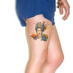 Temporary tattoo Watercolor Frida Kahlo Paint splat by Siideways