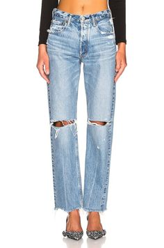 Shop for Moussy Vintage Viola Wide Straight in Light Blue at FWRD. Free 2 day shipping and returns. Pop Fashion, Girl Fashion, Womens Fashion, Girls Jeans, Mom Jeans, Boyfriend Jeans, Painted Jeans, Vintage Jeans, Fashion Stylist