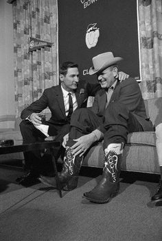 """Alabama head coach Paul """"Bear"""" Bryant turned the tables on his Cotton Bowl rival. Texas A & M head coach Gene Stallings by showing up at a joint press conference wearing a pair of """"Texas Aggies"""" cowboy boots. Bryant was given the boots by an alumnus when he was head coach at Texas A & M, after his 1956 Aggie team won the Southwest Conference championship. Stallings played for Bryant on that team and was later an assistant coach at Alabama for Bryant before taking the A & M head coaching job."""
