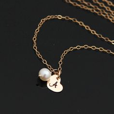 Gold Initial Heart Necklace Tiny Heart Birthstone by AlexisKJewels