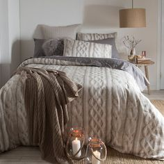 Digital print cable knit pattern; the Aspire Aberdeen Quilt Cover Set