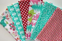 6 Fat Quarter NORDIC Holiday Multi Reindeer by spiceberrycottage, $15.95