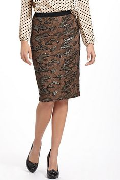 Shimmered Lace Pencil Skirt #anthropologie