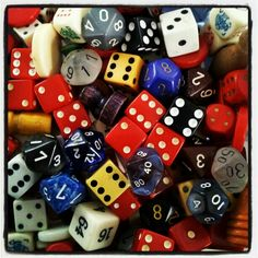 Collection of Stephen Parfitt, Springfield, Illinois. COLOURS AND DIFFERENT DIE FOR DIFFERENT GAMES   CONSULT HOYLE'S BOOK