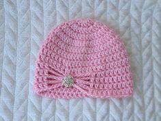 Soft pink baby hat. Crochet jewel rhinestone by MrsPsPretties