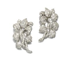 Pair of diamond brooches, 1950s | lot | Sotheby's