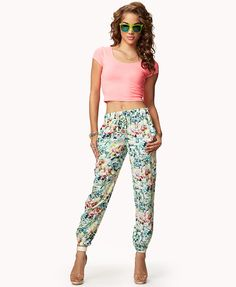 $22.80 Tropical Floral Joggers | FOREVER21 - 2042578901