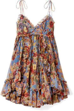 Zimmermann Lovelorn Silk Floral Babydoll Dress In Pink Floral Mode Hippie, Mode Boho, Trendy Dresses, Casual Dresses, Floral Dresses, Short Dresses, Estilo Zendaya, Looks Hippie, Boho Fashion