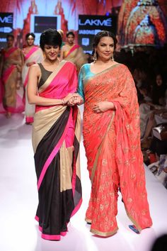 Lakmé Fashion Week – MANDIRA BEDI AT LFW SR 2015 Diva Fashion, Asian Fashion, Lakme Fashion Week 2015, Hand Painted Sarees, Saree Dress, Saree Blouse, Simple Sarees, Bollywood Fashion, Saree Fashion