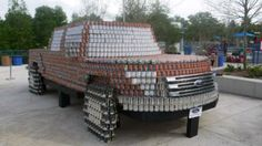 Southern Ford Dealerships' Drive to End Hunger campaign hired Canstruction to create a life size F150 Truck out of canned food