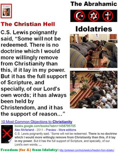 "Soul Mythology - The Christian Hell - C.S. Lewis poignantly said, Some will not be redeemed. There is no doctrine which I would more willingly remove from Christianity than this. The Jews, Buddhists, Muslims, Pagans and other nonbelievers always rejected the belief in Jesus as the Messiah, so Jesus has had no choice but to send billions to burn in hell for eternity... Christians go to the Muslim hell for their horrific idolatry, their ""shirk"" - their absurd, criminal belief in the Trinity."