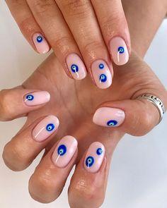 50 Stylish Evil Eye Nail Art Designs For Halloween Minimalist Nails, Nail Swag, Classy Nails, Simple Nails, French Nails, Nail Art Designs, Evil Eye Nails, Long Red Nails, Nagellack Trends