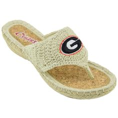 Women's Campus Cruzers Georgia Bulldogs Pregame Flip-Flops (€11) ❤ liked on Polyvore featuring shoes, sandals, flip flops, beige wedge shoes, beige wedge flip flops, slip on sandals, beige sandals and rope wedge sandals