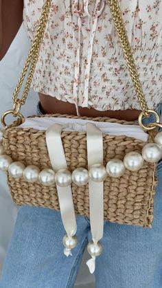 Crochet Handbags, Crochet Purses, Leather Bags Handmade, Handmade Bags, Diy Bags Purses, Summer Purses, Straw Handbags, Diy Handbag, Fabric Beads