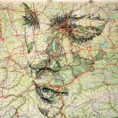 Ritratti e antiche mappe: i lineamenti dei volti si fanno strada sulle cartine