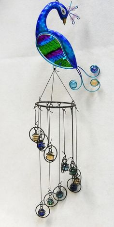 """Peacock Sun Catcher Metal, Fused Glass and Glass Marbles 26"""""""