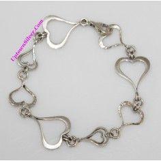 Silpada Artisan Jewelry Spread The Love Heart Link 925 Sterling Silver 7.5 Inch Long Adjustable Bracelet Retired