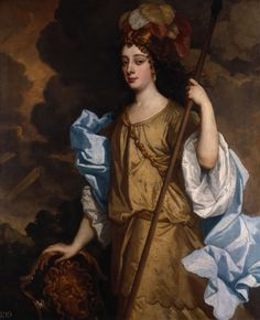 Barbara Villiers, Duchess of Cleveland, ca. 1665, as Minerva. This is the portrait painted by Sir Peter Lely for The Windsor Beauties.