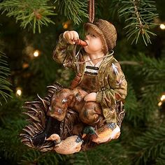 boy duck hunting christmas tree ornament