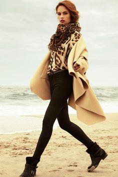 Leopard Chiffon Blouse, J Brand Mayheim Wax Jeans, K Poncho, YSL Leopard Scarf, Ash Moto Booties