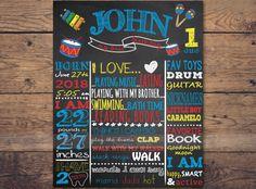 1st Birthday Chalkboard, 1st Birthday boy, music theme, music poster, music Birthday Chalkboard, music birthday party, drums, guitar by LaminitasPrintables on Etsy https://www.etsy.com/listing/282116008/1st-birthday-chalkboard-1st-birthday-boy