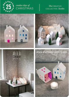A House of Her Own, Book Week Tea light paper houses (free template) All Things Christmas, Winter Christmas, Christmas Crafts, 3d Templates, Diy And Crafts, Crafts For Kids, Foam Crafts, Navidad Diy, Diy Papier