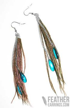 Peacock Feather Fringe Earrings $9.99
