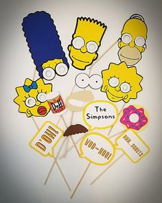 Add some fun to next party with these Simpsons themed photo booth props! Included in this listing are 14 props: -1 Homer with eye cutouts -1 Marge with eye cutouts -1 Bart with eye cutouts -1 Maggie with eye cutouts -1 Lisa with eye cutouts -1 Flanders Mustache -1 set of eyes -1