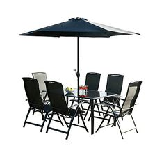 Debenhams Black steel frame 'Havana' rectangular garden table and 6 chairs Garden Table, Debenhams, Dining Set, Steel Frame, Havana, Chairs, Patio, Outdoor Decor, Black