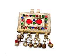 Vintage, Afghan, jewellery, Pendant, Tribal, bellydance, Afghani jewelry, nomadic, bohemian, boho jewellery, hippie, gypsy, dunesjewellery by jewelleryDunes on Etsy