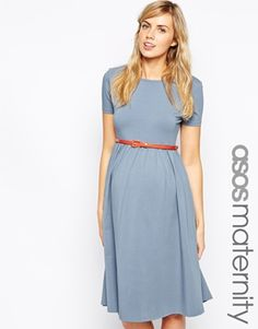 Enlarge ASOS Maternity Slash Neck Skater Dress with Belt