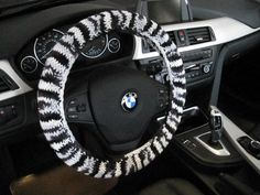 Knit Steering Wheel Cover - zebra