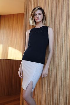 Three Dots Lexi Lace Knit Tank and Edda Striped Pencil Skirt | Spring 2016 Collection