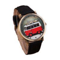 Bus de dibujos animados patrón de cuarzo reloj de pulsera unisex vestido reloj casual hombres moda correa de cuero reloj horas relogio masculino rojo