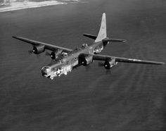 PB4Y-2 Privateer (derived from the PB4Y-1 Liberator) in flight off the eastern shore of Oahu, Hawaii, 1945.