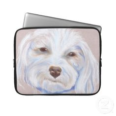 Maltipoo with an Attitude Laptop Computer Sleeve ~   A Maltipoo, or Maltese and poodle mixed breed dog, displays her stubborn yet lovable facial expression in this pastel artwork done on taupe colored paper.