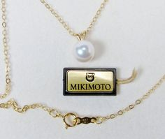 MIKIMOTO 18K Gold Pearl Pendant Necklace 6MM Akoya by VintageGemz