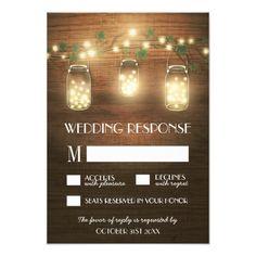 String Lights Rustic Mason Jar Wedding RSVP Cards