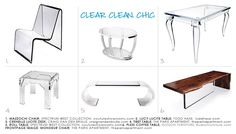 Lucite furniture (tables, chairs, benches)