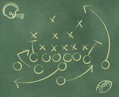 9163148-an-american-football-play-diagram-on-a-green-chalkboard ...