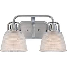 "Quoizel DBN8602 Dublin 2 Light 16"" Wide Bathroom Vanity Light with Glass Bell Sh Brushed Nickel Indoor Lighting Bathroom Fixtures Vanity Light"