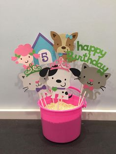 Girl puppy and kitten Themed Centerpiece sticks, set of puppy party, kitten party, puppy birthday, kitten birthday Birthday Kitten, Kitten Party, Puppy Birthday Parties, Girl Birthday Themes, Puppy Party, Cat Party, Dog Birthday, Birthday Ideas, Dog Themed Parties