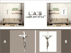 #ChoiceLAS The same modern image of Jesus, in two different solutions: which you prefer, A or B? http://www.laserartstyle.it/home/gallery/crocifissi/ #crucifix #interiorinspiration