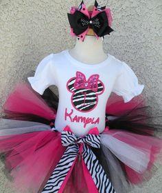 Black Pink Zebra Minnie Mouse Birthday Tutu Set