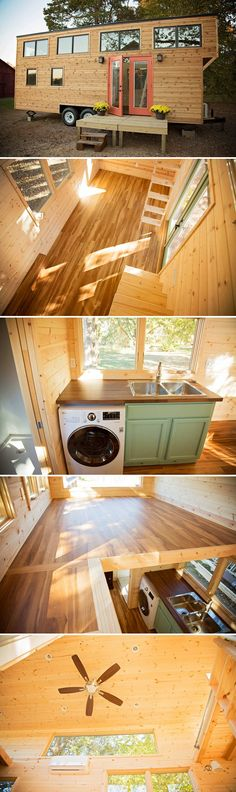 Peponi is Perch & Nest's custom tiny house on wheels. The house was built on a double axle trailer and uses channel rustic cedar siding along with aluminum and pine windows. Small Room Design, Tiny House Design, Tiny House Plans, Tiny House On Wheels, Tiny House Nation, Cedar Siding, Tiny House Movement, Tiny Spaces, House Windows