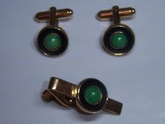 Vintage Small Green Cufflink And Tie Clip Set