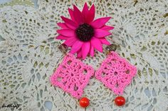 Pink square red drop crochet earring