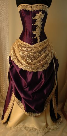 How much would I need to bribe designers to revert all clothing back to Pride and Prejudice era for a little while? Antique ivory and cadbury purple bridal gown - gorgeous design!