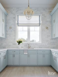 Light Blue painted cabinets in the Laundry Room + U-shaped laundry room + full w., Light Blue painted cabinets in the Laundry Room + U-shaped laundry room + full w., Blue painted c Blue Kitchen Cabinets, Shaker Cabinets, Pantry Cabinets, Kitchen White, White Cabinets, Kitchen Backsplash, Kitchen Countertops, Kitchen Island, Küchen Design